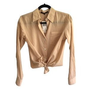 THEORY Button Front Cotton Shirt Blouse Camel XS